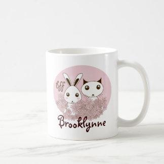 Le rose animal mignon de bande dessinée d'amitié mug