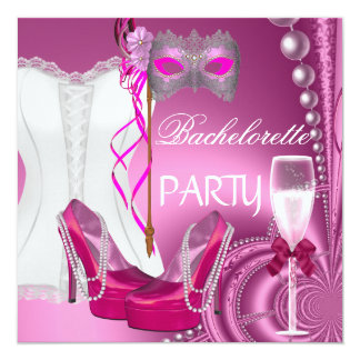 Le rose de corset de partie de Bachelorette Carton D'invitation 13,33 Cm