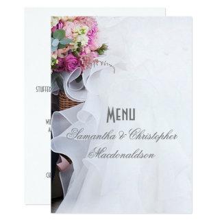 Le rose fleurit le menu floral de robe de mariage carton d'invitation  12,7 cm x 17,78 cm