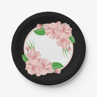 Le rose floral fleurit le mariage/partie noirs assiettes en papier