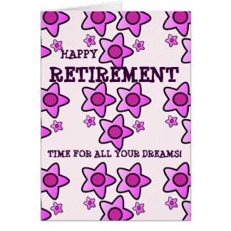 Le rose heureux de retraite fleurit l'heure pour carte de vœux
