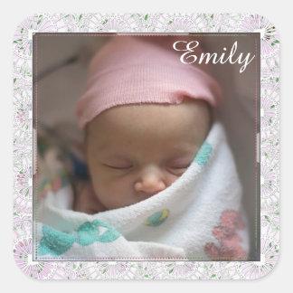 Le rose personnalisé de bébé a encadré des sticker carré