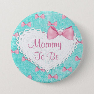 Le rose turquoise cintre la maman pour être bouton badge rond 7,6 cm