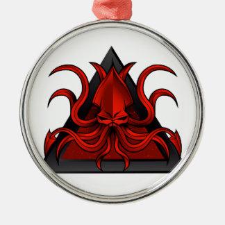 le rouge kraken l'illustration ornement rond argenté