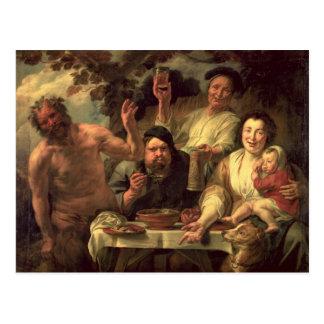 Le satyre et les paysans carte postale