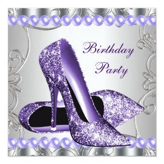 Le scintillement perle l'anniversaire pourpre de carton d'invitation  13,33 cm