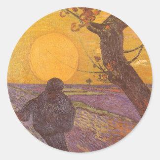 Le semeur par Vincent van Gogh, beaux-arts Sticker Rond