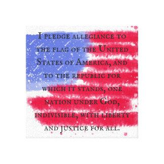 Le serment de fidélité sur la toile de drapeau