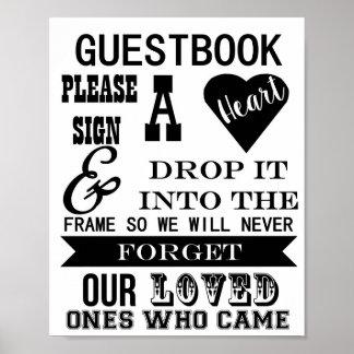 Le signe de Guestbook signent svp une table de