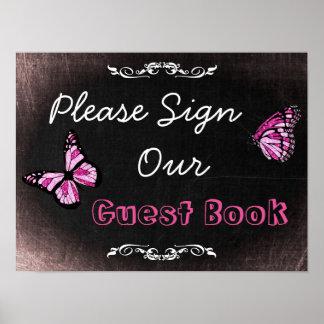 Le signe de mariage, signent svp notre Guestbook Poster