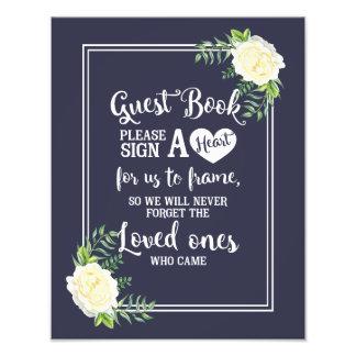 le signe de mariage, signent svp un coeur, floral photos sur toile