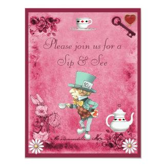 Le Sip fou rose de chapelier et voient le baby Carton D'invitation 10,79 Cm X 13,97 Cm