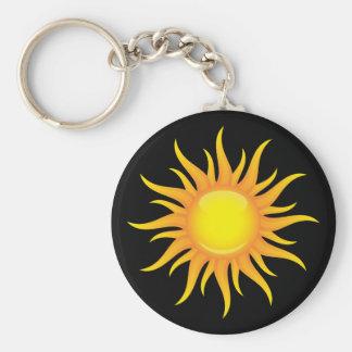 Le soleil flamboyant sur un porte - clé noir porte-clés