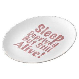 Le sommeil déshérité mais encore vivant dans assiettes en porcelaine