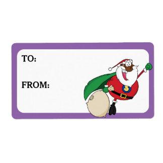 Le super héros Père Noël noir a imprimé Étiquette D'expédition