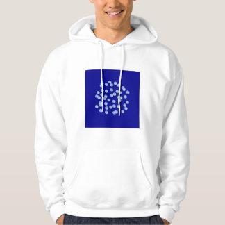 Le sweatshirt à capuchon bleu d'hommes de pois