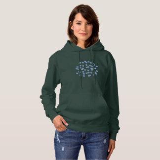 Le sweatshirt à capuchon des femmes bleues de pois