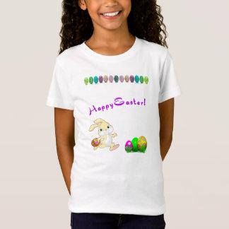 Le T-shirt de fille de lapin de Pâques