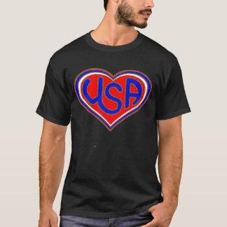 Le T-shirt des hommes de coeur des Etats-Unis.