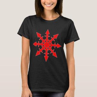 Le T-shirt foncé de chaos des femmes rouges