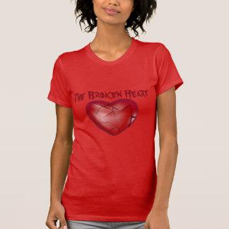 Le T-shirt rouge du coeur brisé pour des dames