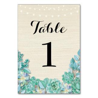 Le Tableau numérote des Succulents de mariage les Carte