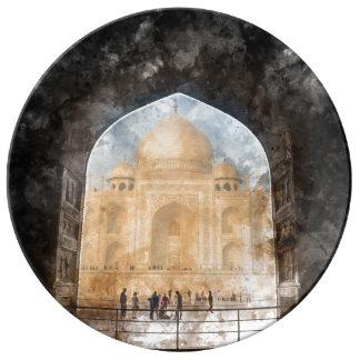 Le Taj Mahal à Âgrâ Inde Assiette En Porcelaine