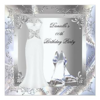 Le talon haut blanc argenté de robe chausse carton d'invitation  13,33 cm