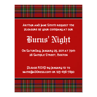 Le tartan royal Robbie Stuart brûle l'invitation Carton D'invitation 10,79 Cm X 13,97 Cm