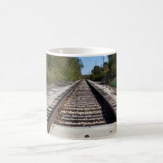 Le train de chemin de fer dépiste la photo mug