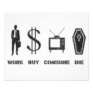 Le travail, achat, consomment, meurent - le Cirlce Prospectus 11,4 Cm X 14,2 Cm