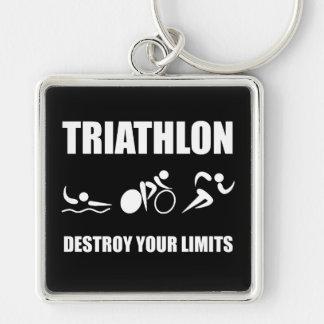 Le triathlon détruisent porte-clé carré argenté