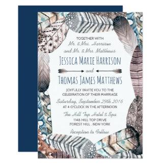 Le tribal moderne fait varier le pas du mariage de carton d'invitation  12,7 cm x 17,78 cm