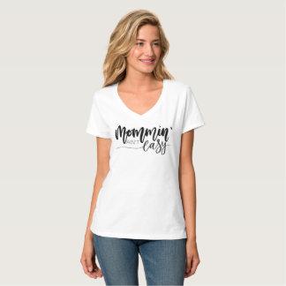 """Le V-cou blanc """"Mommin n'est pas"""" T-shirt facile"""