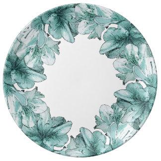 Le vert bleu d'Aqua a illustré la personnaliser de Assiette En Porcelaine