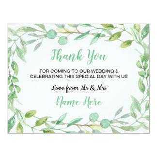 Le vert de nature de carte de mariage de Merci