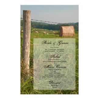 Le vert pâture le menu de mariage de ferme de pays