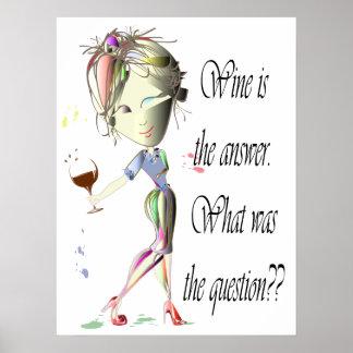 Le vin est l'affiche humoristique de réponse poster