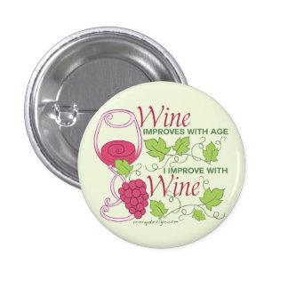 Le vin s'améliore avec l'âge badge rond 2,50 cm