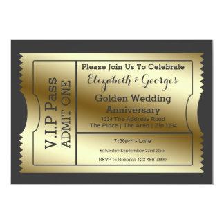 Le VIP passent le billet d'anniversaire de mariage Carton D'invitation 12,7 Cm X 17,78 Cm