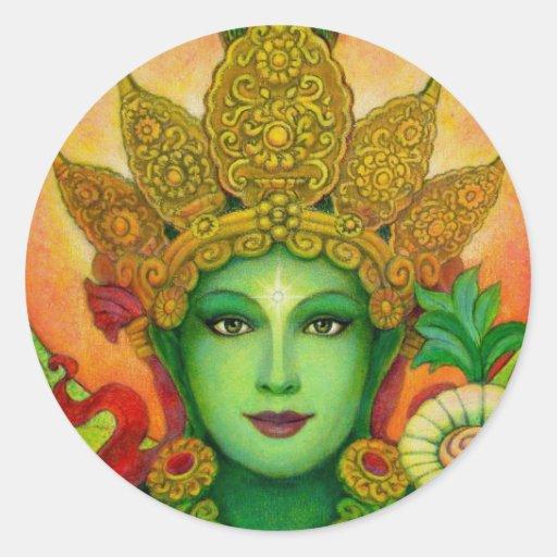 Le visage de Tara vert de déesse Autocollant Rond