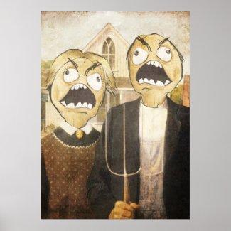 Le visage Meme de rage font face à la peinture chi Posters