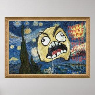 Le visage Meme de rage font face à la peinture chi Affiches