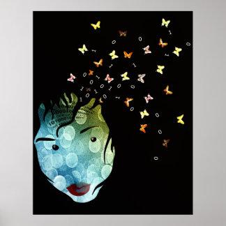 Le visage numérote des papillons art abstrait