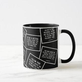 Le volleyball cite la tasse de café en noir et