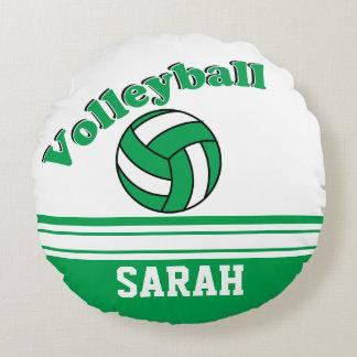 Le volleyball vert et blanc | personnalisent coussins ronds