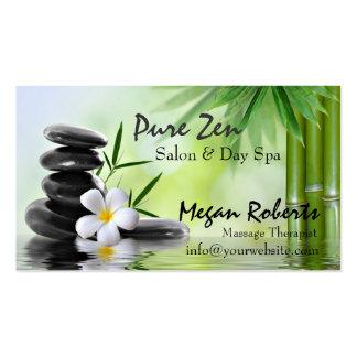 Le zen en bambou lapide le salon de massage de soi modèles de cartes de visite