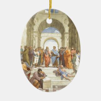L'école d'Athènes Ornement Ovale En Céramique