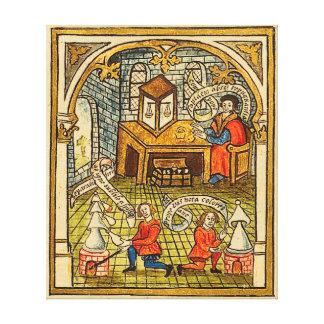 Leerlingen in een Middeleeuws Laboratorium Canvas Afdruk