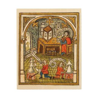 Leerlingen in een Middeleeuws Laboratorium Hout Afdruk